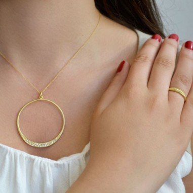 Stellar-round-hoop-necklace - Azuni.co.uk
