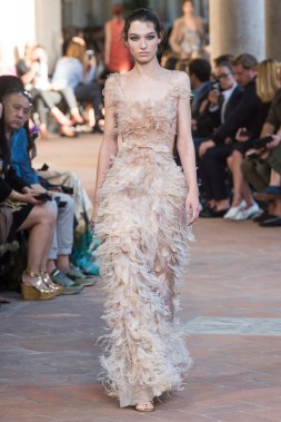 A feather dress from Alberta Ferretti's Spring 2018 Collection/Vogue
