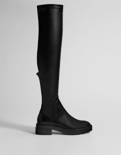 Bershka Flat Boots with Track Soles $59.90