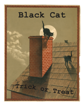 Black Cat Trick or Treat 8 x 10 PNG